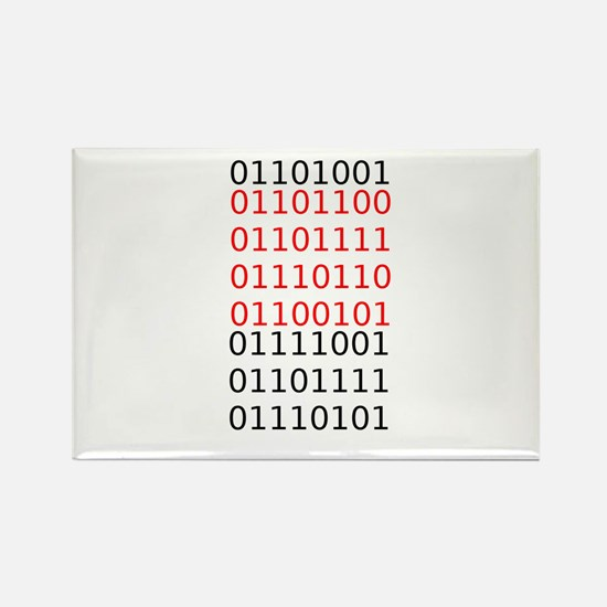 "Say ""I Love You"" in binary code Rectangle Magnet"