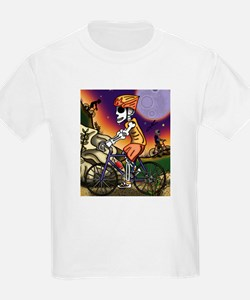 Day of the Dead Bicycle Rider Kids T-Shirt
