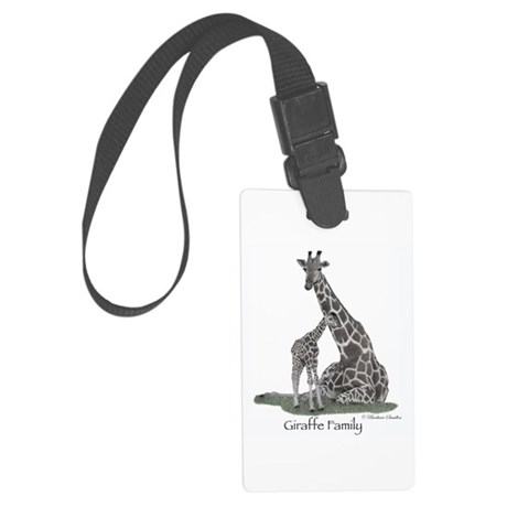Giraffe Family Large Luggage Tag