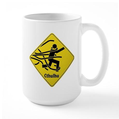 Caution: Cthulhu Crossing Large Mug