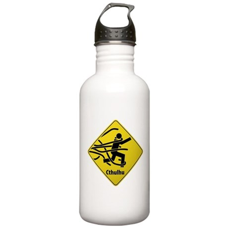 Caution: Cthulhu Crossing Stainless Water Bottle 1