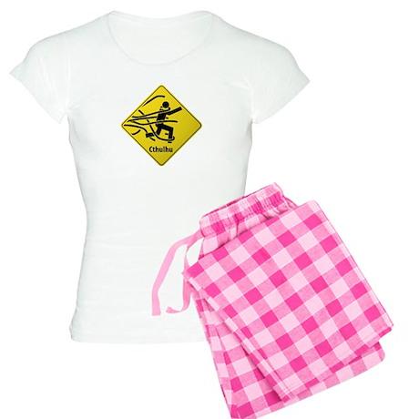 Caution: Cthulhu Crossing Women's Light Pajamas