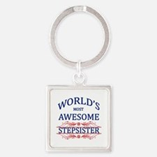 World's Most Awesome Stepsister Square Keychain