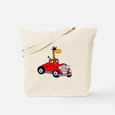 Giraffe Driving Red Car Tote Bag