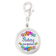 Sisters are Special Silver Round Charm