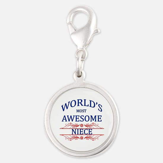 World's Most Awesome Niece Silver Round Charm