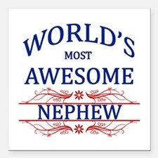"World's Most Awesome Nephew Square Car Magnet 3"" x"