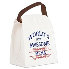 World's Most Awesome Mema Canvas Lunch Bag