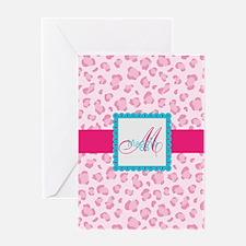 Girly Pink Monogram Greeting Card