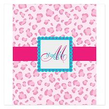 Girly Pink Monogram Flat Cards