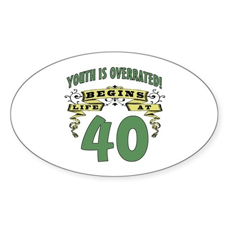 Life Begins At 40 Sticker (Oval)