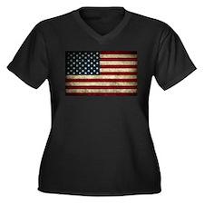 American Flag Rocks Women's Plus Size V-Neck Dark