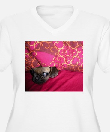 Sneaky Pug is Watching You Plus Size T-Shirt