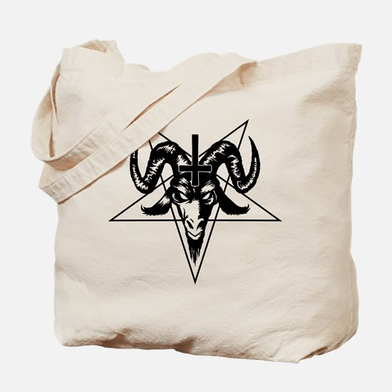 Satanic Goat Head with Pentagram Tote Bag