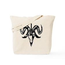 Satanic Goat Head with Cross Tote Bag