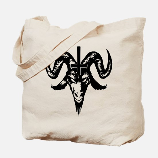 Satanic Goat Head with Cross Tote Bag
