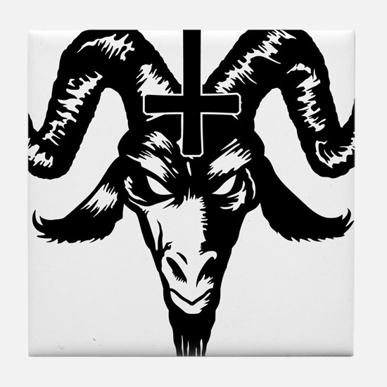 Satanic Goat Head with Cross Tile Coaster