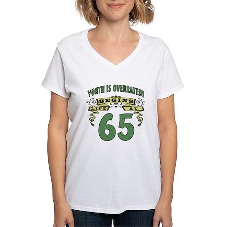Life Begins At 65 Women's V-Neck T-Shirt