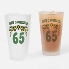 Life Begins At 65 Drinking Glass