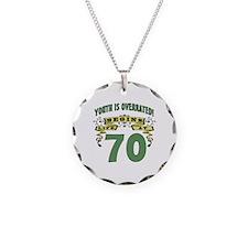 Life Begins At 70 Necklace Circle Charm