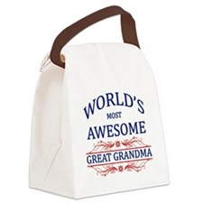 World's Most Awesome Great Grandma Canvas Lunch Ba
