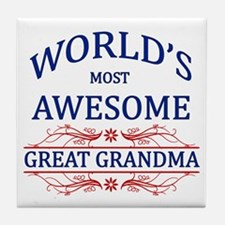 World's Most Awesome Great Grandma Tile Coaster