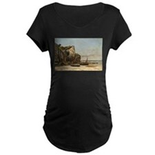 Gustave Courbet - Beach in Normandy Maternity T-Sh