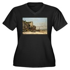 Gustave Courbet - Beach in Normandy Plus Size T-Sh