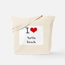 I Love TURTLE BEACH Tote Bag