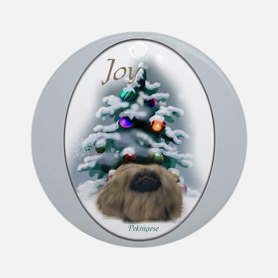 Pekingese Christmas Ornament (Round)