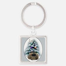 Pekingese Christmas Square Keychain
