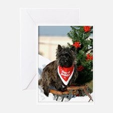 Cairn Terrier and Sled Merry Christmas Cards