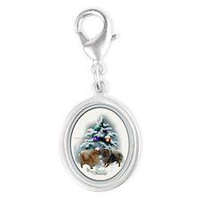 Pomeranian Christmas Silver Oval Charm