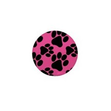 Dog Paws Bright Pink Mini Button