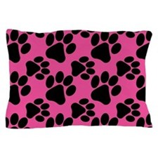Dog Paws Bright Pink Pillow Case