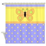 Butterfly and Polka Dots Shower Curtain