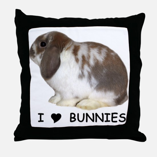 """I love bunnies 1"" Throw Pillow"
