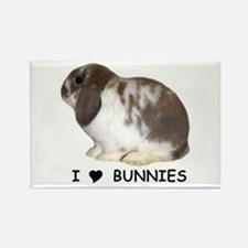 """I love bunnies 1"" Rectangle Magnet"