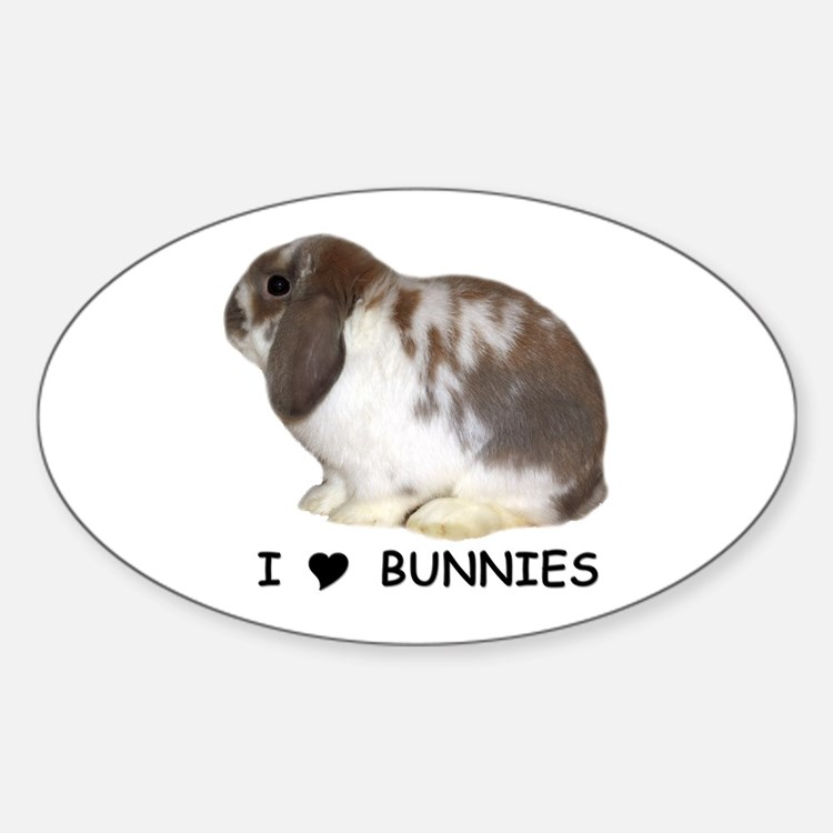"""I love bunnies 1"" Oval Decal"