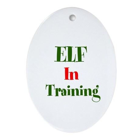 Elf In Training Ornament (Oval)
