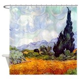 Art van gogh wheat Shower Curtains