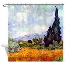 Van Gogh Wheatfield & Cypress trees Shower Cur