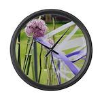 Lavender flower ball Large Wall Clock