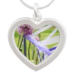 Lavender flower ball Silver Heart Necklace