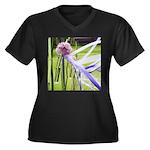 Lavender flo Women's Plus Size V-Neck Dark T-Shirt