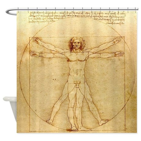 leonardo da vinci vitruvian man shower curtain by inspirationzstore. Black Bedroom Furniture Sets. Home Design Ideas