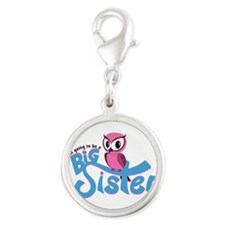 Girly Going to be a Big Sister Silver Round Charm