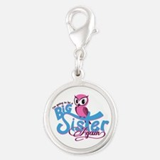 Going to be a Big Sister Again! Silver Round Charm