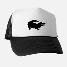 Black Alligator Silhouette Trucker Hat