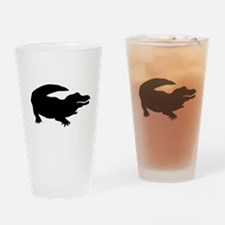 Black Alligator Silhouette Drinking Glass